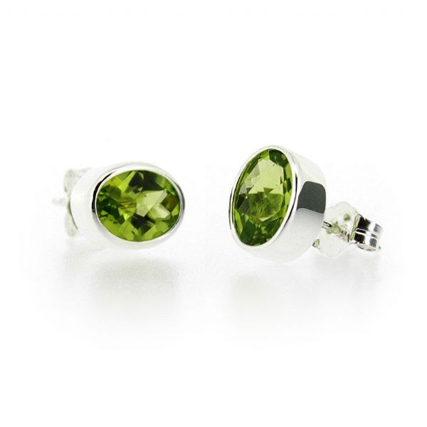 Silver Oval Peridot Earrings